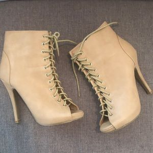 Shoes - 2 for $30 Nude Lace Up HIgh Heel Booties